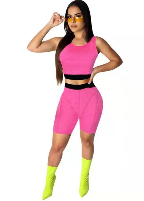 Sports Contrast Tank Top and Shorts Set