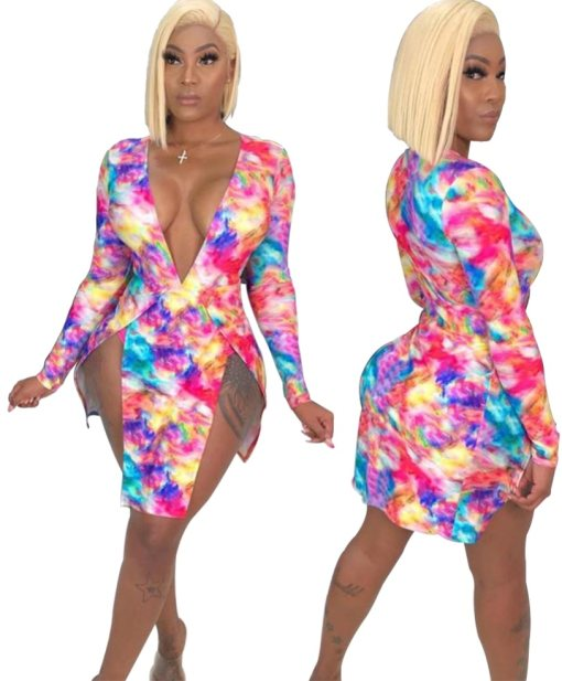 Deep-V Sexy Colorful Slit Party Dress