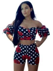 Sweetheart Floral Crop Top and Shorts Set