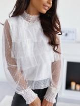 Romantisches Netzhemd mit Punktdruck