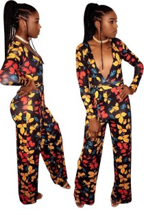 Floral Print Deep-V Jumpsuit with Sleeves