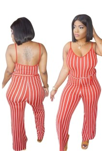 Striped Print Sexy Straps Jumpsuit