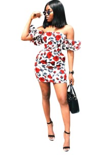 Floral Print Strapless Mini Dress