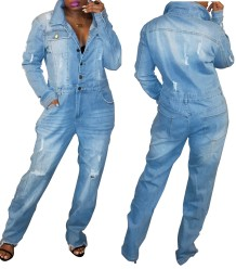 Button Up Blue Denim Jumpsuit with Sleeves