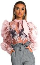 Romantisches Blumen-Netzhemd mit Pop-Ärmeln