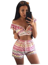 Conjunto de pantalones cortos y top corto ondulado colorido