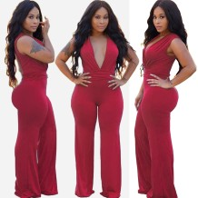 Red Sleeveless Deep-V Sexy Jumpsuit
