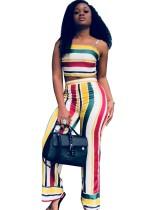Conjunto de top y pantalones a rayas de colores a rayas