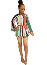 Brede gestreepte kleurrijke mini-jurk met mouwen