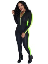 Contrast Zipper Up Bodycon Jumpsuit with Sleeves