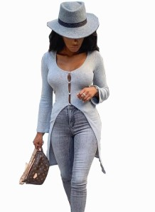 Front Slit Grey Long Knitting Shirt