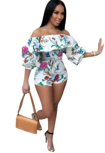 Floral Print Off Shoulder Bodycon Rompers