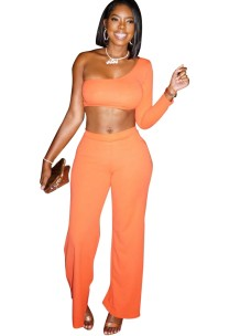 Solid Color Irregular Crop Top and Pants Set