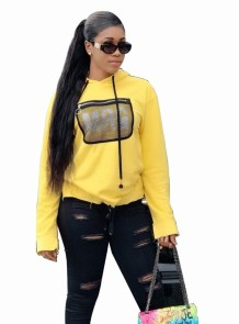 Print Yellow Long Sleeve Hoody Shirt