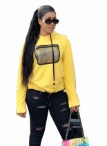 Print geel shirt met lange mouwen en capuchon