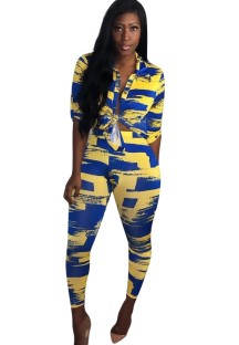 African Yellow and Blue Blouse and Pants Set