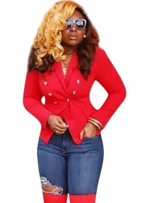 Red Button Up Short Blazer with Sleeves
