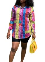 Blusa de manga larga colorida africana