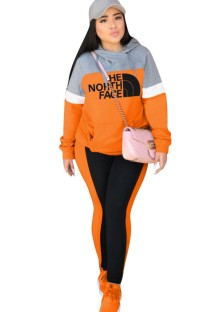 Contrast Print Long Sleeve Hoody Sweat Suit