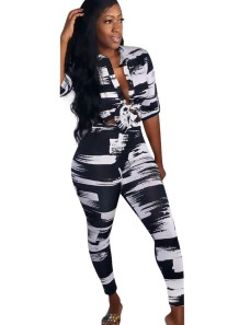 African White and Black Blouse and Pants Set