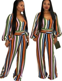 Wide Striped Colorful Crop Top and Pants Set