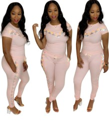 Sequins O-Neck Tight Shirt and Pants Set
