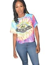Print O-hals kleurrijk shirt met korte mouwen