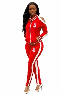 Cut Out Shoulder Long Sleeve Contrast Tracksuit