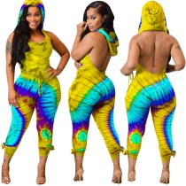 Colorful Sexy Backless Bodycon Hoody Jumpsuit