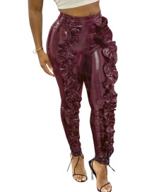Sexy Ruffles High Waist Leather Pants