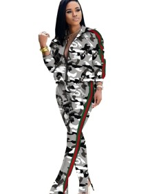 Camou Print Long Sleeves Tracksuit
