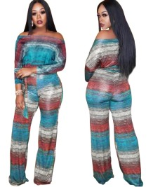 Off Shoulder Colorful Loose Jumpsuit with Belt