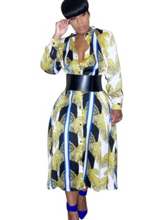 Africa Retro Long Blouse Dress with Sleeves