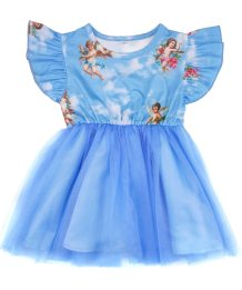 Baby Girl Print Blue Princess Kleid