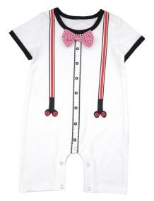 Baby Boy Print White Summer Jumpsuit Rompers