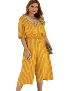 Plus Size Yellow Stripes V-Neck Jumpsuit