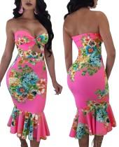 Vestido de sirena floral sin tirantes sexy