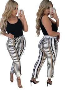 Wide Striped High Waist Trousers with Belt