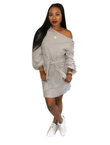 Loose Cut Plain Shirt Dress with Sleeves