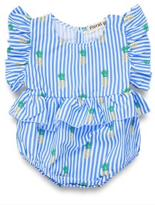 Baby Girl Print Striped Summer Bodysuit