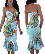 Sexy strapless bloemen zeemeermin jurk