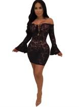 Vestido de fiesta sexy de encaje negro con hombros descubiertos