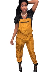 Solid Color Drawstrings Bib Pants
