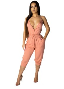 Summer Straps Drawstring Sheer Jumpsuit