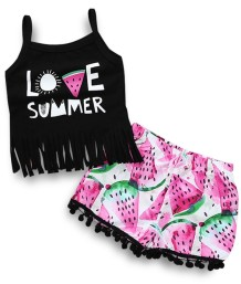 Kids Girl Summer Print Shirt and Shorts