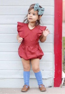 Baby Girl Summer Red Ruffle Rompers