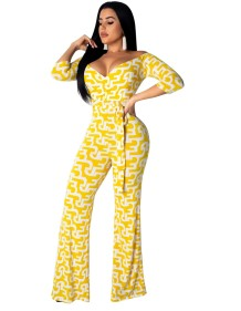 White and Yellow Print Wrapped Jumpsuit