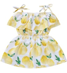 Kids Girl Fruit Print Summer Straps Dress