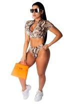 Bikini con cremallera de manga corta y piel de serpiente