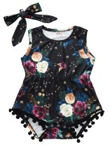 Mamelucos florales de verano para niña con diadema